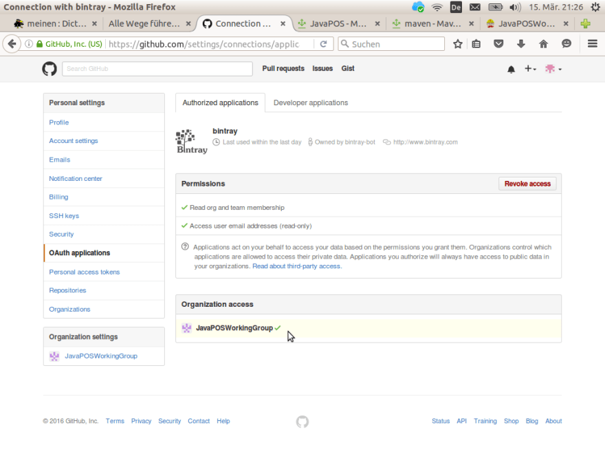 GitHUb dialog authorizing access for Bintray