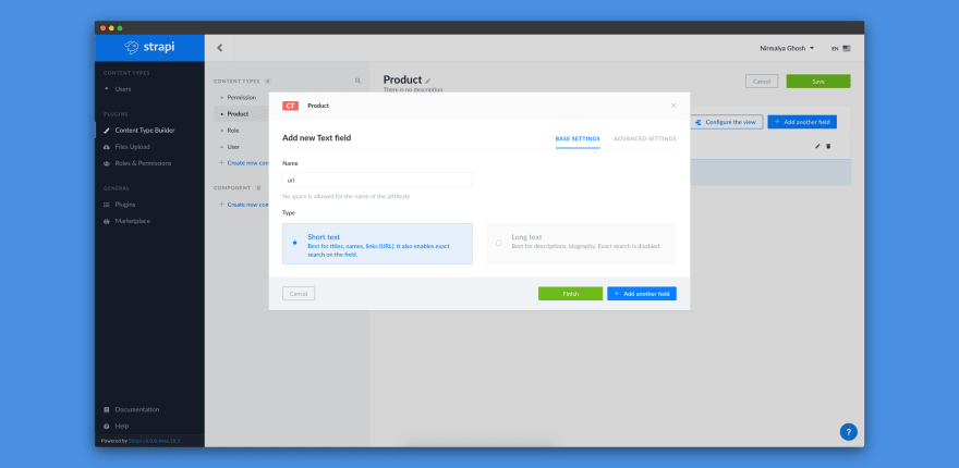 Adding URL text field for Product content-type