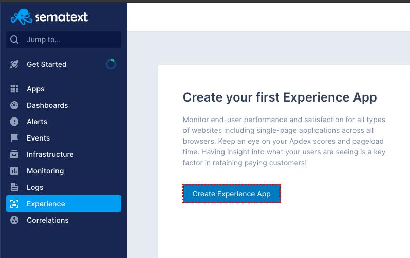 sematext experience tab