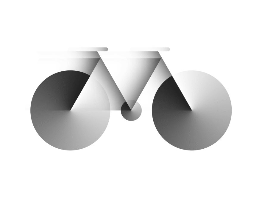 Cartoon of a bicycle in motion