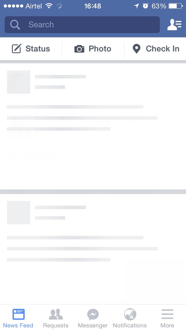 Skeleton Screen do facebook