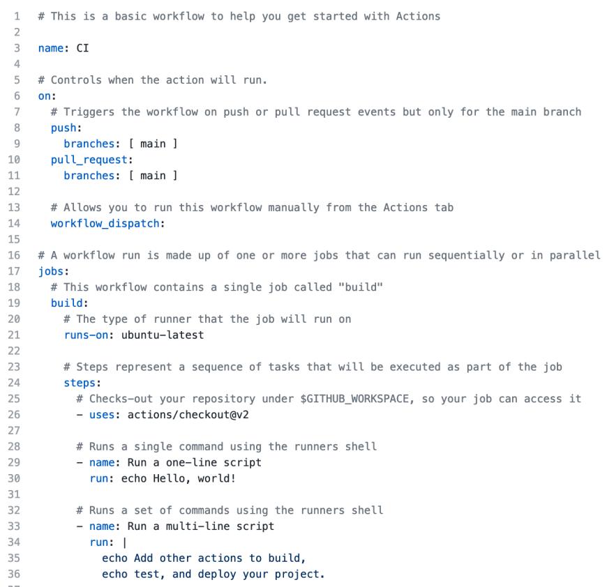 Screenshot of Simple workflow yaml code
