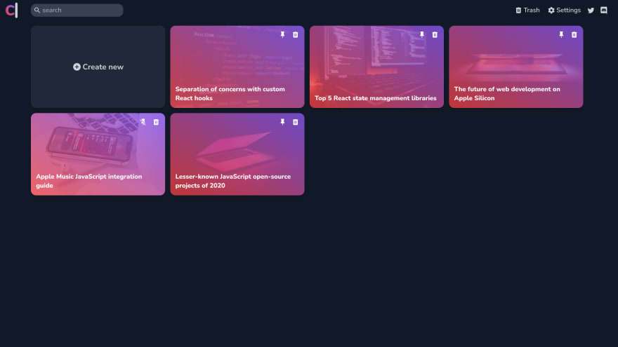 CodeWrite dashboard in dark mode