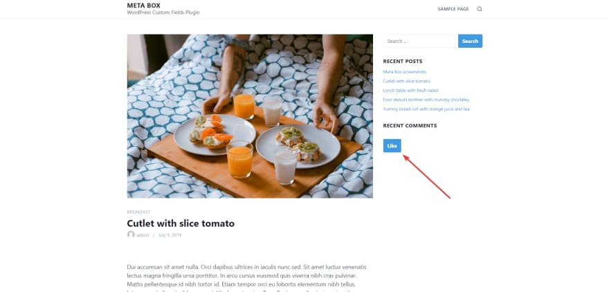 the like button shows up on the sidebar of the WordPress website