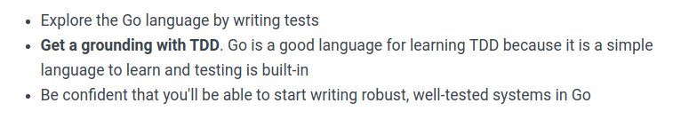 Learn Go with tests introductory promises