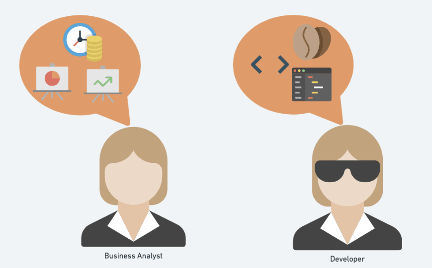 A business analyst and a developer may have different objectives and perspectives