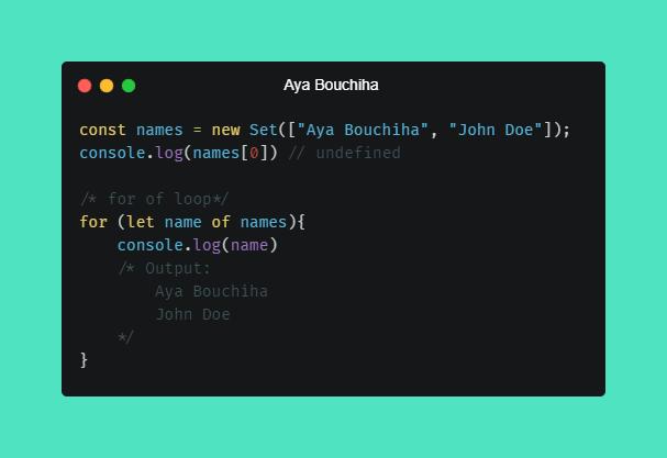 Aya Bouchiha Set in Javascript