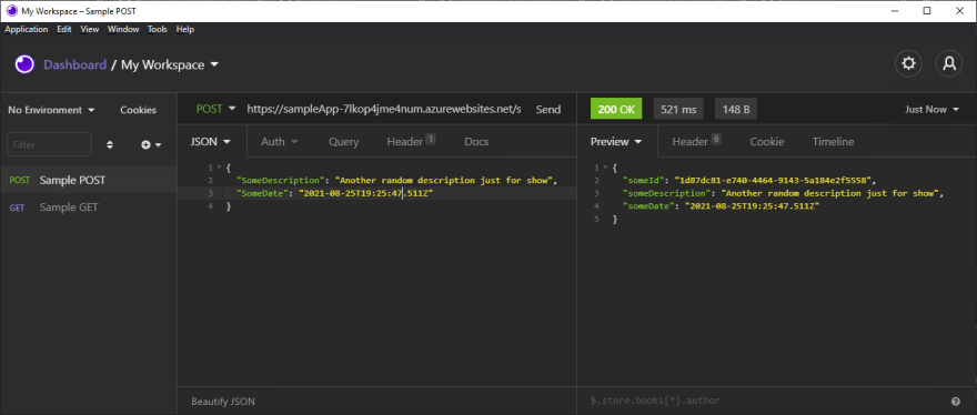 Test the API with a POST