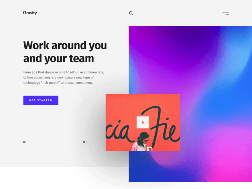 Landing page with hero and navigation bar