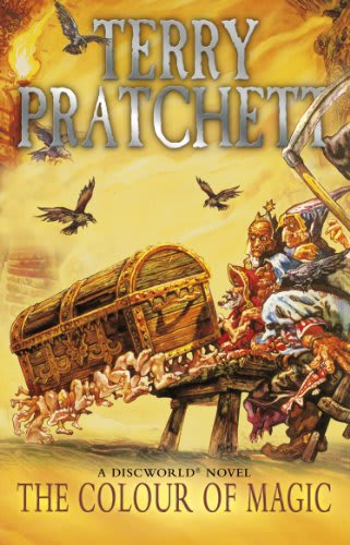 The ocover of the book Colour of Magic with a magic chest with numerous legs jumping to defend the wizard Rincewind and its owner the tourist Twoflower, from a pub brawl while Death stands in the background with a Scythe