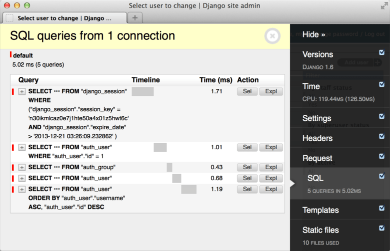 Screenshot from *django-debug-toolbar, *which adds a debugging panel to your website displaying all the SQL queries with latency information. Really useful when you need to profile queries on a specific page from your website!