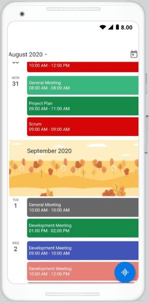 Schedule view month header builder