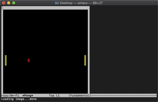 Screenshot of pong being played in the emacs editor