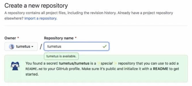 GitHub profile readme is hinted when creating the repository.