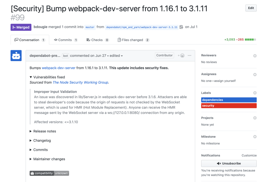 pull request dependabot example