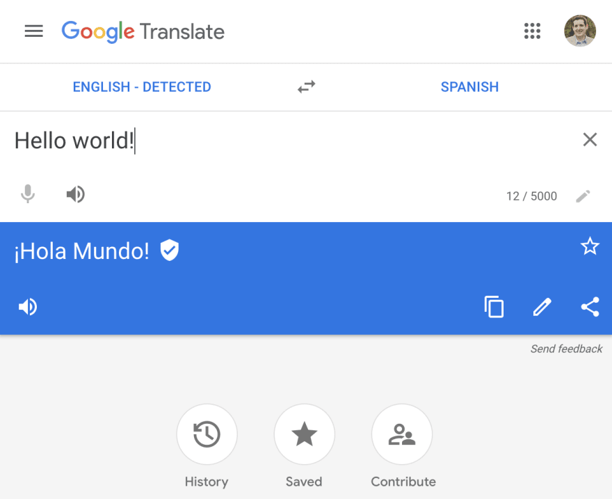 """Screenshot of google translate from English to Spanish, with the sentence """"hello world"""""""