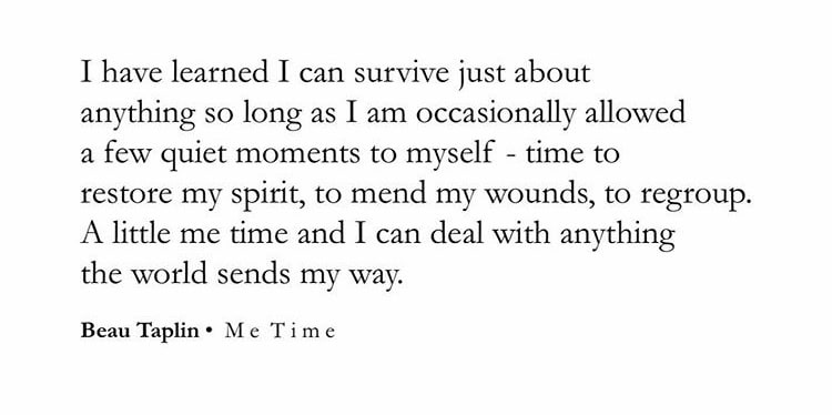 Quote by Beau Taplin: I have learned I can survive just about anything so long as I am occasionally allowed a few quiet moments to myself - time to restore my spirit, to mend my wounds, to regroup. A little me time and I can deal with anything the world sends my way.