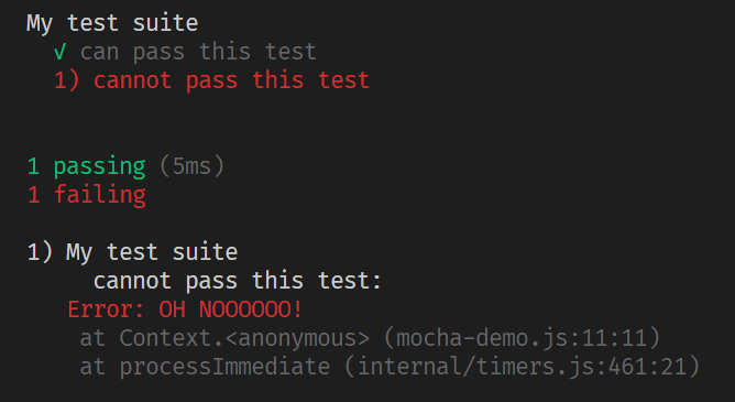 Screenshot of the expected output of a failed Mocha test.