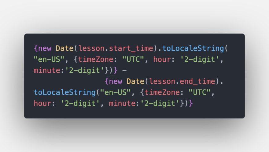 code to format times