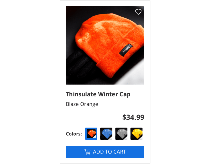"""ecommerce listing showing orange knitted winter hat, the name of item """"Thinsulate Winter Cap"""", and the $20.99 sale price with a crossed out $34.99 price, and an """"add to cart"""" button in blue, on the bottom"""