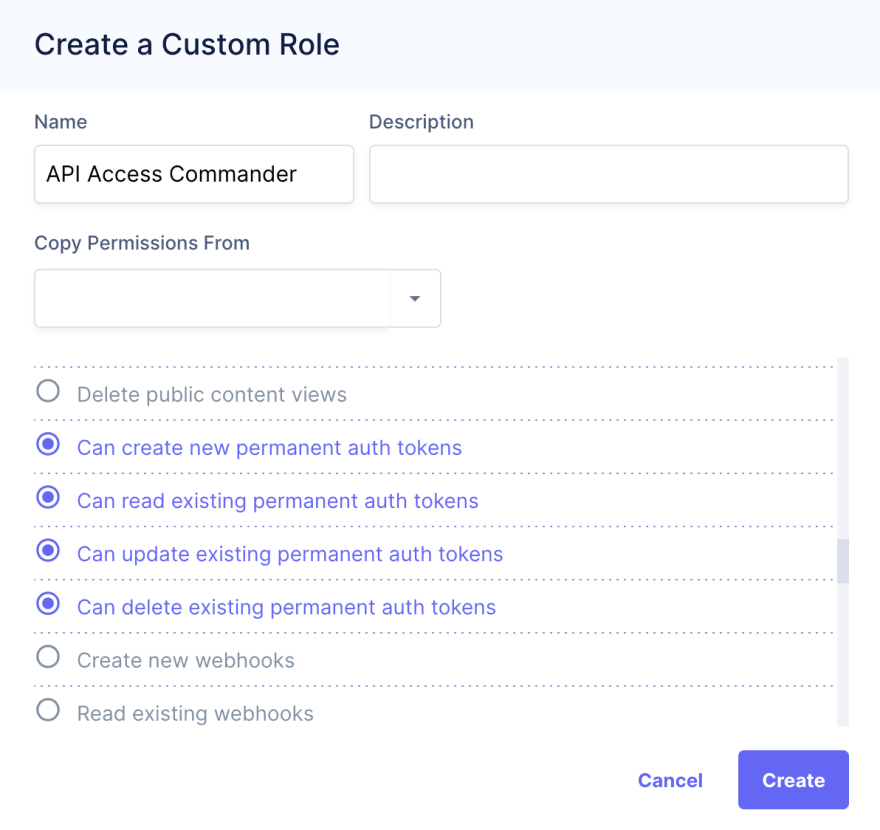 Create a Custom Role dialog
