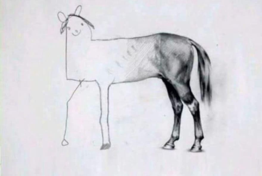 drawing of a horse with a details back end and stick figure front end, labeled 'When there is 5 minutes to go on your test'. used to illustrate the discongruity of the term 'full-stack developer'. popularized in a tweet by @holtbt