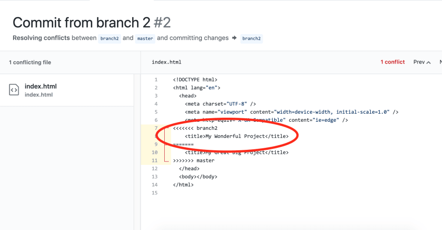 Resolving a merge conflict through Github's web interface
