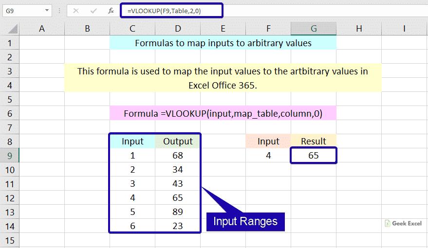 Map inputs to arbitrary values