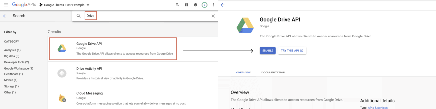 Enabling a Google API into the project