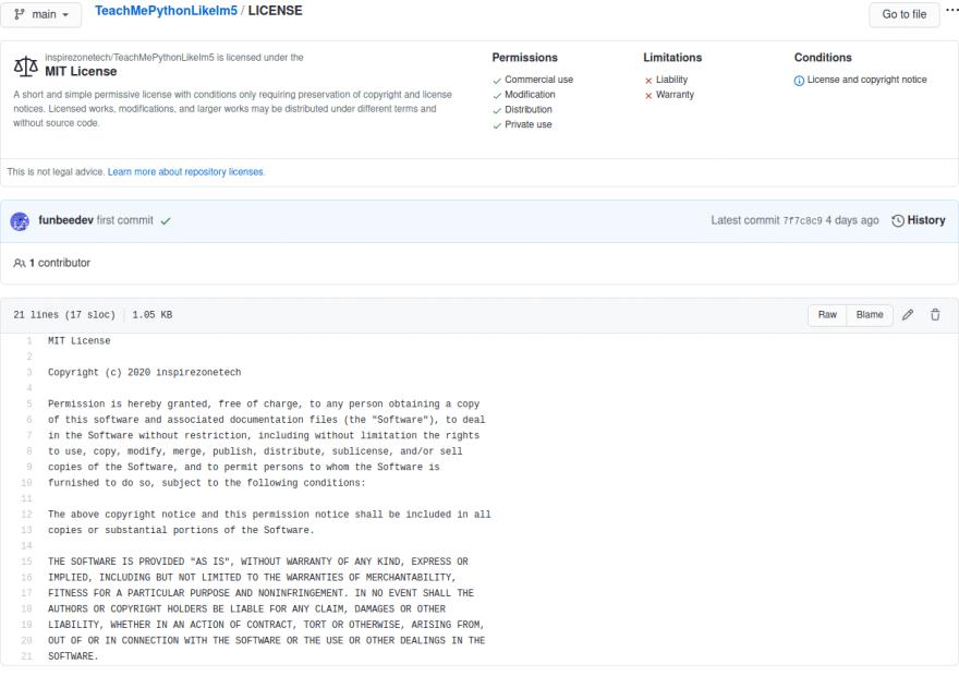 GitHub licence file