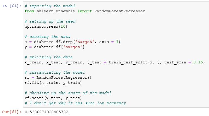 using the random forest regressor in scikit learn