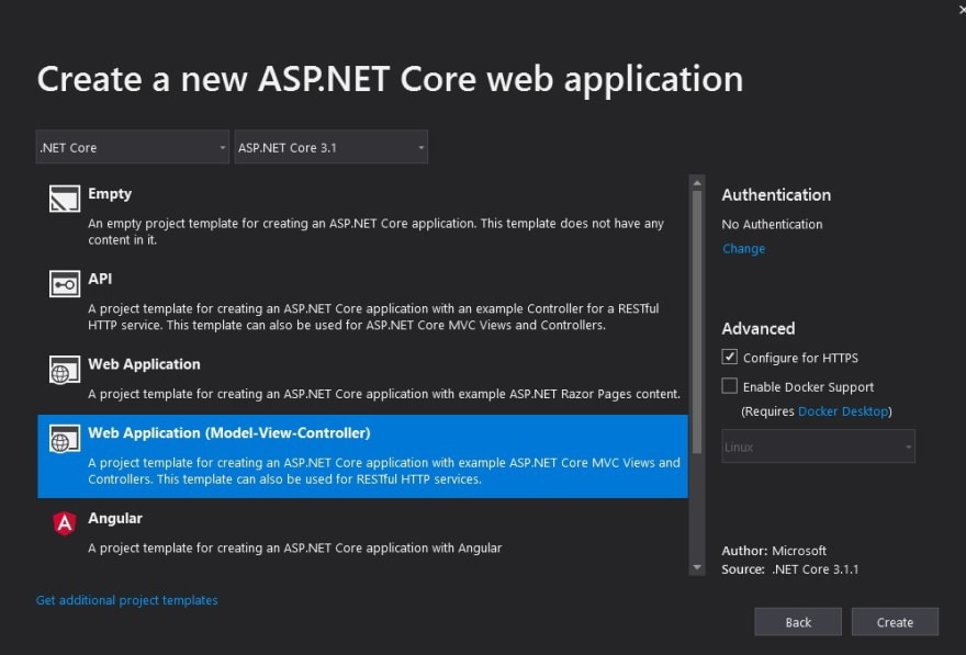 ASP.NET Core MVC project template selected