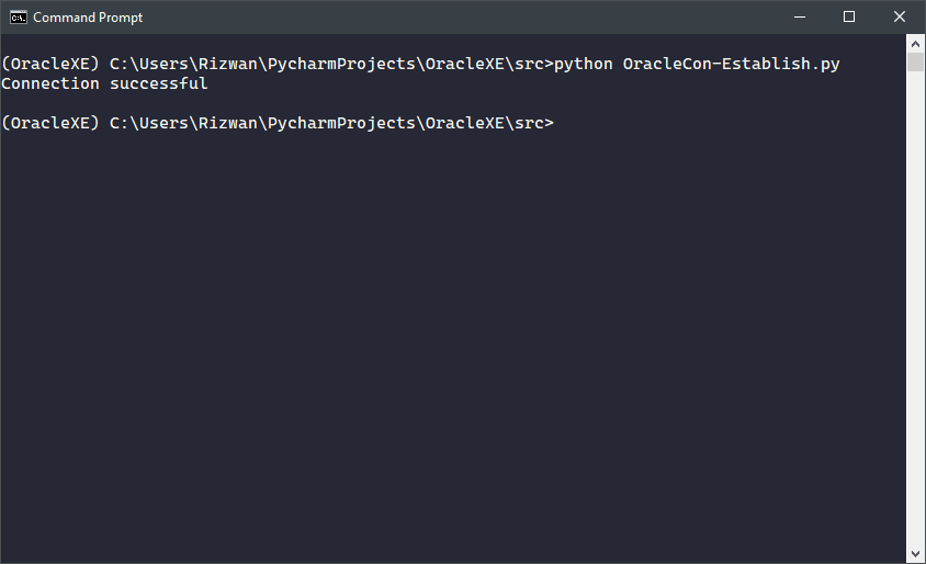 The output of Connection Establishing Code