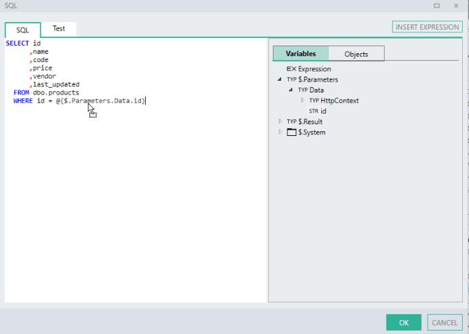 SQL expression editor