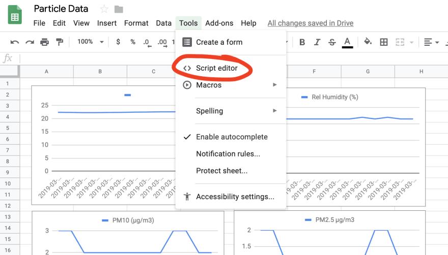 Script Editor in Google Sheets