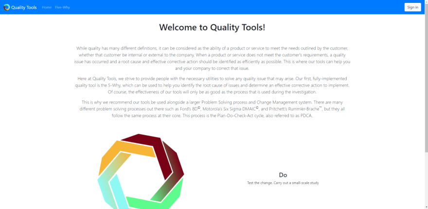 Quality Tools Landing Page