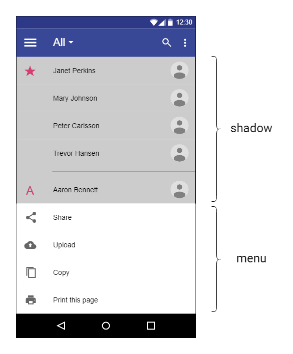 Mobile screenshot of a menu and its shadow