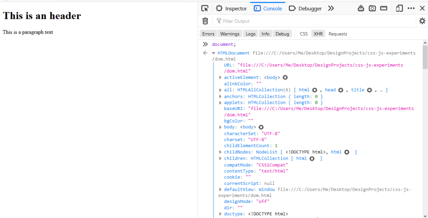 The document object shown in Firefox 71.0 DevTools