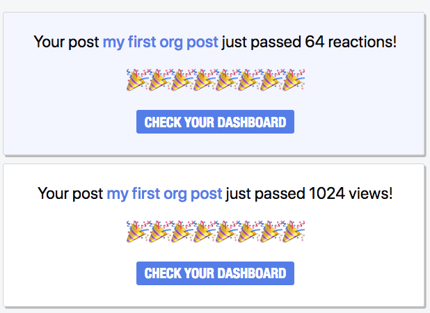 Screenshot of reaction and view milestone notifications