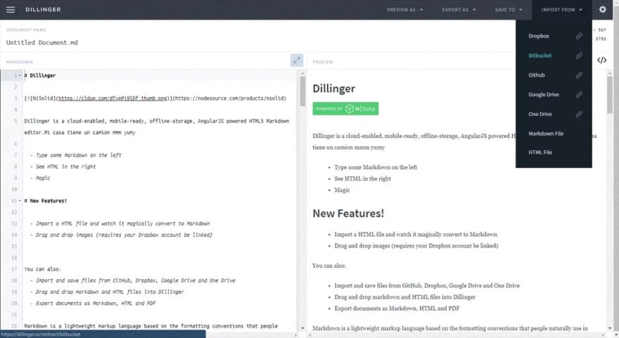Visión de la web del editor online dillinger