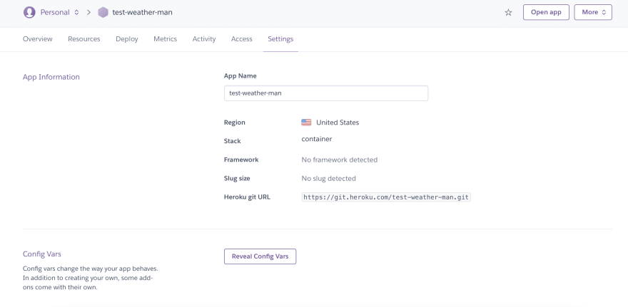 The config vars section for a Heroku app