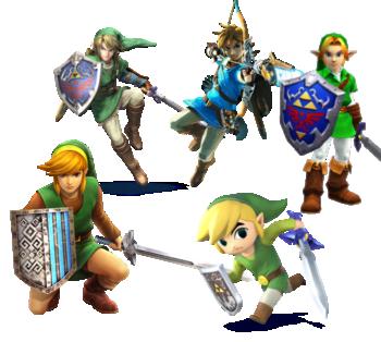 Different Links from Legend of Zelda