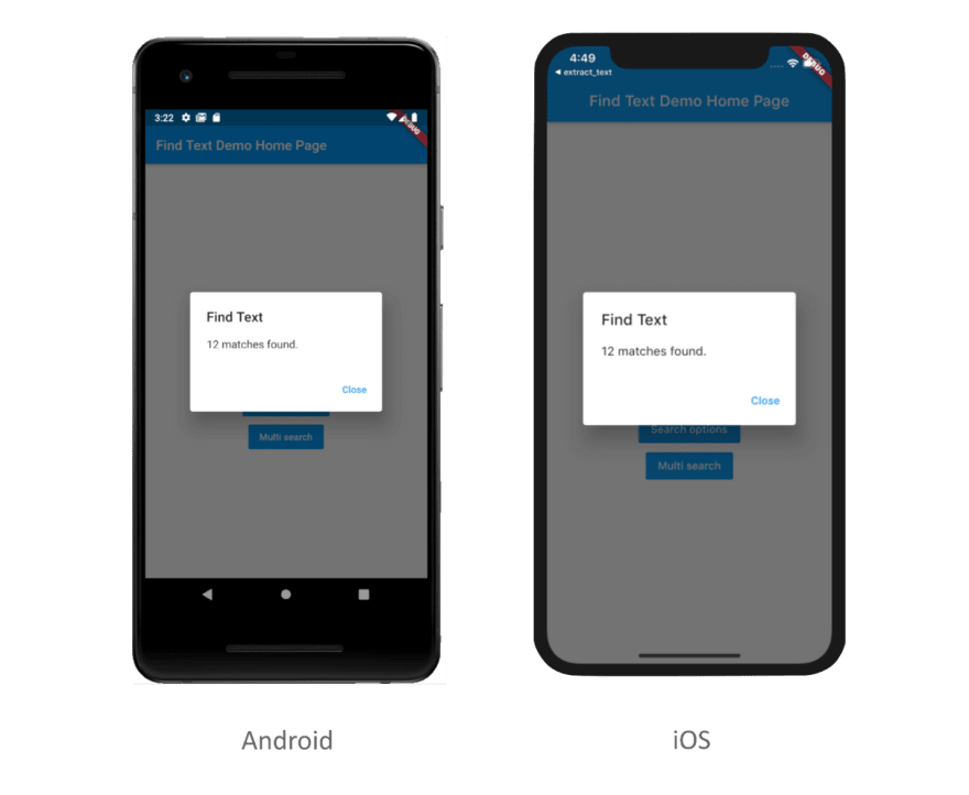 Find text with search options in PDF in Flutter