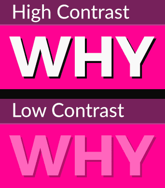 Comparison between high contrast and low contrast text