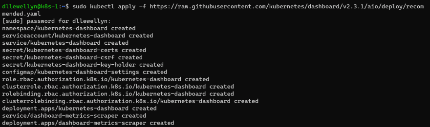 Screenshot of terminal output from installing the K8s Web UI Dashboard