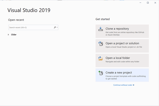 Open Visual Studio 2019 and choose Create a new project