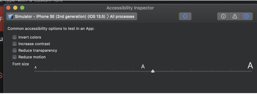 Screenshot of Accessibility Inspector from Xcode