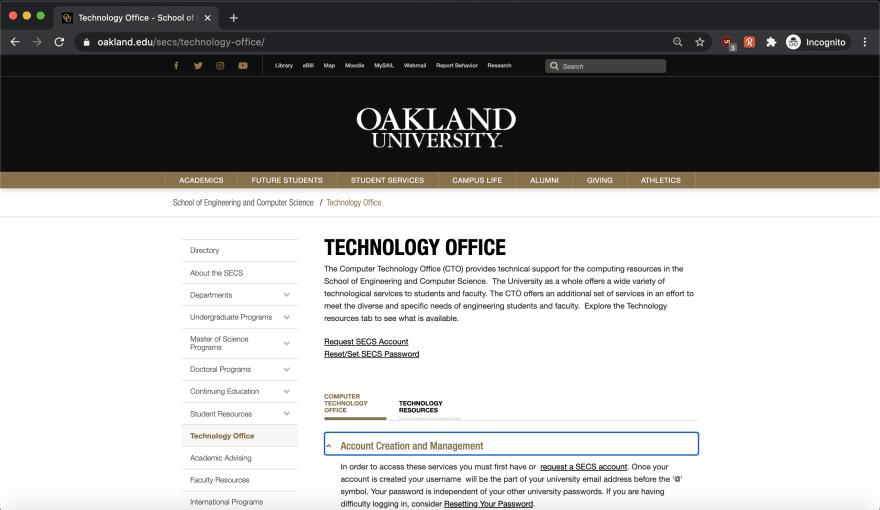 SECS Technology Office Website