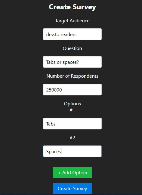 Creating a Survey