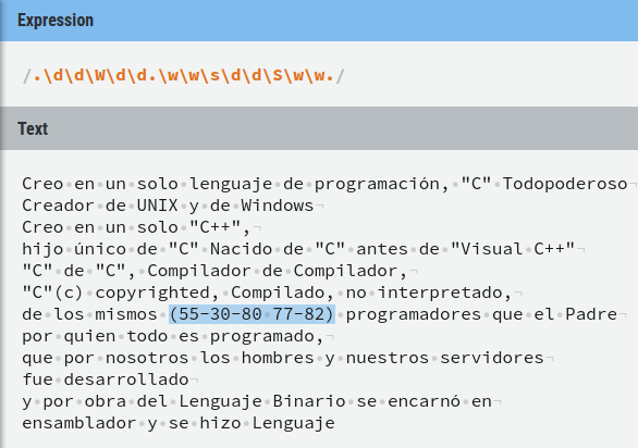 [Ejemplo usando metacaracteres combinados para buscar el teléfono (55–30–80 77–82) (**Fig-17**)](https://regexr.com/40tps)
